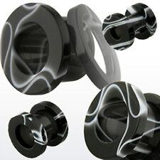 Plástico mármol atornilla bollos túnel oreja piercing negro blanco jaspeado