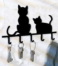 Black Cats key holder,5 hook Key Holder, Metal Key hanger, Wall mounted keys