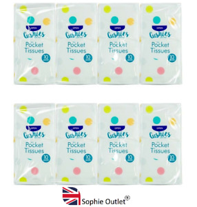 8 Pack 3 Ply SOFT POCKET TISSUES Facial Make Up Handy Travel Pack HOM0943 UK