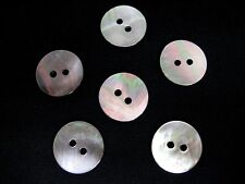 10 (MOP) mother of pearl 2 holes shell buttons, Smoke, 28L 18mm, Flat Rimless