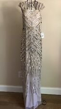 Adrianna Papell Art Deco Cap Sleeve Dress Gown Champagne Gold Beaded Size 4