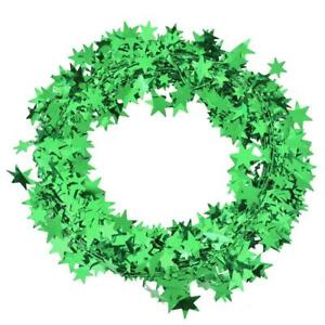 20ft GREEN WIRE FOIL GARLAND Christmas Star Wire Foil Garland Decorations