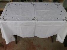 "Vintage Handmade Hardanger Embroidery White Linen Cotton Tablecloth 66"" by 50"""