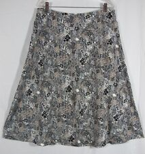 Nomadic Traders Rayon Blend Knit Skirt Floral Black Gray Ethnic Extra Large XL