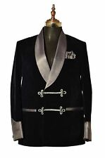 Men Elegant Luxury Stylish Designer Navy Blue Smoking Jacket Party Wear Blazer