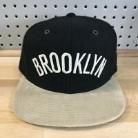 Brooklyn Nets NBA Basketball Mitchell & Ness Leather Strap Back Hat EUC Wool Cap