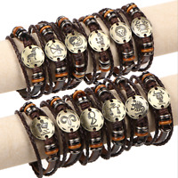 US Handmade Unisex 12 Constellation Zodiac Round Pendant Leather Bangle Bracelet