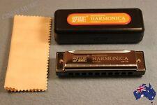 10 Holes C Key Harmornica for Blues Rock Jazz Folk+Cloth+Case-BLACK/GOLD only