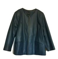 Women's MAGGIE BARNES PLUS SIZE 1X 18/20W TEAL BLUE LEATHER COLLARLESS JACKET