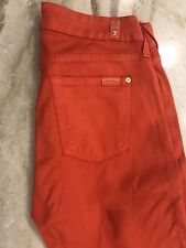NEW 7 For All Mankind Red Orange Wax Coated Skinny Jeans, Size 28