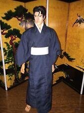 1/6 CUSTOM BLUE MALE SAMURAI KIMONO CLOTHING SET, (BLU-KIM)
