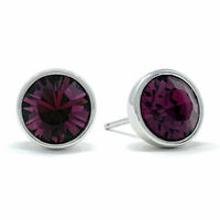 Stud Earrings with Purple Amethyst Round Crystals from Swarovski Rhodium Plated