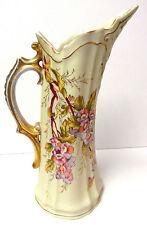 """Austria, Antique Porcelain Cream/ Floral Pitcher """"Victoria"""" Schmidt &Co. c 1899"""