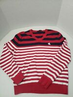 Men's Express Long Sleeve V-Neck Sweater - Size Medium M Red Blue White Striped