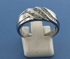 14K WHITE GOLD MENS .50CT DIAMOND RING SIZE 9.5