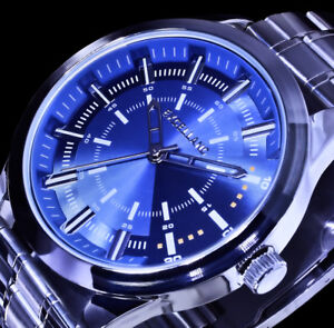 Excellanc Herren Armband Uhr Hellblau  Edelstahl-Armband SI-9
