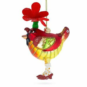 Cardinal with Hat Glass Christmas Ornament