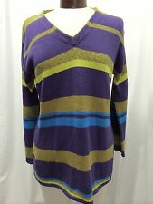 BLOOMINGDALE'S PURPLE, GREEN, AND TEAL KNIT SWEATER SIZE P NWOT