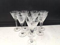 Set Of 8 Vtg Grey Cut Etched Stem Crystal Cordial Liqueur Sherry Glasses Elegant