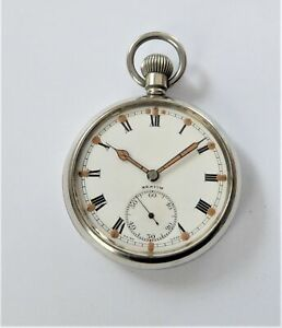 1940'S Zenith Military Screw Cased 17 Jewels Swiss Lever Pocket Watch Working