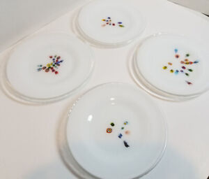 "MURANO MILLEFIORI Glass Desert Salad Plates 8"" ~ Set of 4 ~ ITALY"