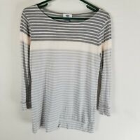 Old navy striped 100% rayon knit top M gray pink white 3/4 sleeve scoop neck