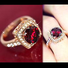18K ROSE GOLD GF SOLID RED GARNET CRYSTAL WOMEN VINTAGE DRESS RING GIFT JEWELRY