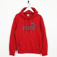 Vintage PUMA Big Spell Out Logo Hoodie Sweatshirt Red | Small S