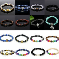 Men Natural Lava Rock Gemstone Beads Bracelet Buddha Lion Charm Beaded Bracelet