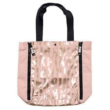 Victoria's Secret Pink Tote Bag Expandable Snap Closure Graphic Logo Vs New Nwt