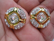 Beautiful Estate Gold-Tone and Crystal Clip Earrings, Signed Soleil