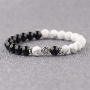 Yin Yang Bracelets Bright Agate White Howlite Beaded His and Her Bracelets Gifts
