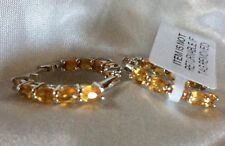 4 Ct Madagascar Orange Sapphire Hoop Earrings, Platinum Overlay Sterling Silver