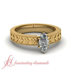 1 Carat Solitaire Marquise Cut Flower Engraved  Womens Diamond Engagement Ring