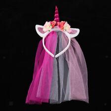 Unicorn Headband Birthday Veil Flower Hairband Hen Night Party Fancy Dress