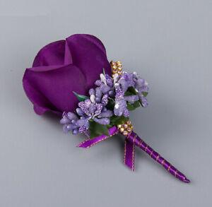 HOT Bride Groom Boutonniere Rose Corsage Artificial Silk Wrist Flower Pin Brooch