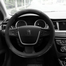 "Leather Car Steering Wheel Cover Black Gray Size M 15"" PU Auto Car Universal Fit"