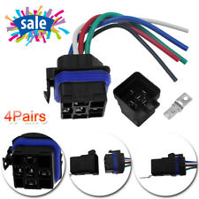 4pack Waterproof 12V Auto Relay 5 Pin 5 Wires with Harness Socket Heavy Duty 40A