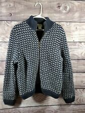 LL BEAN BIRDSEYE Nordic Wool Sweater Cardigan Fleece Lined Norway Norwegian Smal