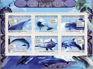 Guinea Dolphins Stamps 2009 MNH Dolphin Marine Animals Mammals Fauna 6v M/S