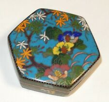 RARE OLD CHINESE CLOISONNE ENAMEL FLORAL HEXAGON BOX