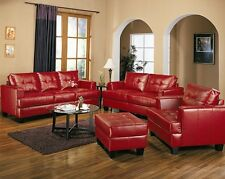 Samuel Red Bonded Leather Sofa & Love Seat 2pc Living Room Furniture Set Modern