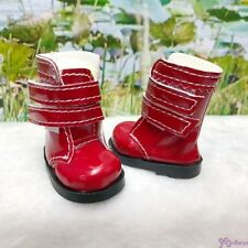 Mimiwoo Yo SD 1/6 BJD Doll Shoes Double Strap Boots Red (for Foot 4.5cm long)