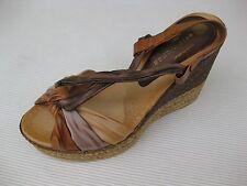 Eric Michael Womens Shoes NEW $130 Flamingo Tan Multi Wedge Sandal 36 5.5 6