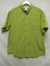 V5165 Columbia Lime Green/Red/White Striped Button Short Sleeve Shirt Men's XL