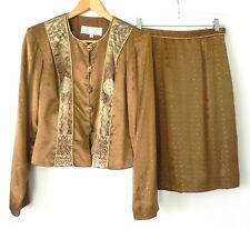 Dorothy Schoelen Platinum Skirt Suit Silky Rayon Multi-Color Size 8(fits S/M)