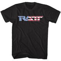 RATT Rock Band USA Flag Logo Mens T Shirt America Concert Tour Heavy Metal Merch