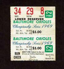 1969 ALCS  Game 2 Ticket Stub Baltimore Orioles  vs Minnesota Twins