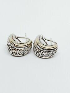 Designer Signed Sterling Silver & 14k Gold ½ Hoop Diamond Huggie Earrings
