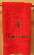 Personalized Embroidered Green Christmas Tree on Red Hand Towel 100% Cotton Lomb